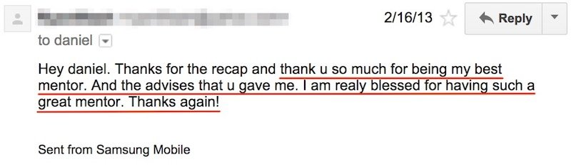 Email from student 3