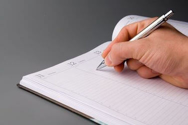 Writing in planner
