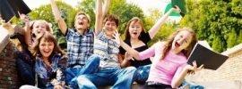 Happy pre-teens and teens